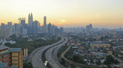 Kuala Lumpur Elevated Highway AKLEH with Skyline in Malaysia at Sunset Timelapse Stock Footage