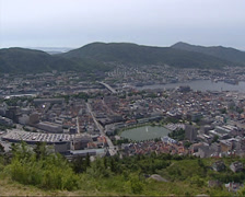 BERGEN Norway: View from Mt Floyen at City center hanseatic town, harbor + pan Stock Footage