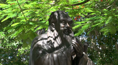 Close up Statue of Confucius on South Bank Parklands in Brisbane Stock Footage