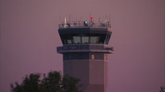 Control Tower At Sundown Stock Footage