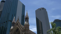 Tilt from the Cathedral of St Stephen downtown Brisbane Stock Footage