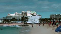 Sint Maarten Maho Beach 034 small plane landing Stock Footage