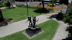 Stock Video Footage of Tilt from  a statue at the Shrine of Remembrance, ANZAC square in Brisbane