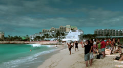Sint Maarten Maho Beach 030 landing of a small plane Stock Footage