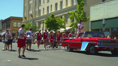 Male Cheerleader at Fourth of July Parade in Ashland, OR - stock footage