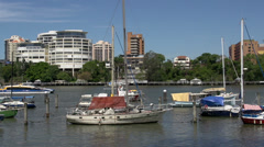 Ferry passing by at the Brisbane river Stock Footage