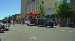 Float in Fourth of July Parade in Ashland, OR Stock Footage