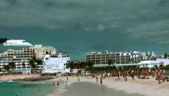 Sint Maarten Maho Beach 047 medium aircraft is landing - stock footage