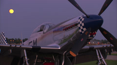 P-51 Mustang Moon Rise Stock Footage