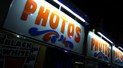 Photo Booth Signs at Night Stock Footage