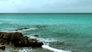 Stock Video Footage of Sint Maarten Maho Beach 040 breakers on a small cay