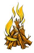 Flame fire of campfire with firewood Stock Illustration