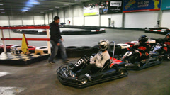 Gokarts  are ready for takeoff Stock Footage