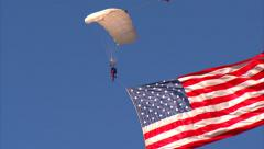 United Stated Flag Parachute Drop Stock Footage