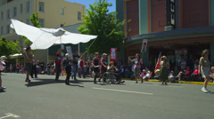 Dove Puppet in Fourth of July Parade - stock footage