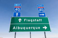 Us interstate i-40 road sign in arizona Stock Photos