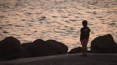 Boy And Sea - stock footage