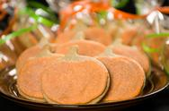 Stock Photo of homemade pumkin cookies on isolated black