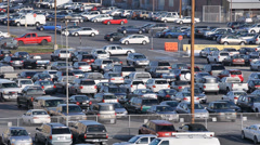 Cars parking lot in Los Angeles near LAX airport - stock footage