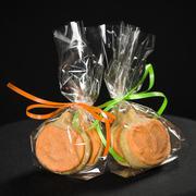 homemade pumkin cookies on isolated black - stock photo