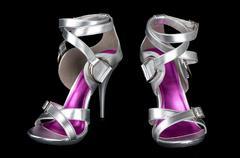 Silver strappy stiletto heels Stock Photos