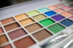 macro shot of colorful make-up kit - stock photo