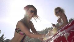 SLOW MOTION: Smiling young women washing a car Stock Footage