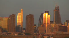 City London business skyscraper building sunset tower 30 St Mary Axe London day  Stock Footage