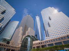 New york freedom tower wide angle shot Stock Photos