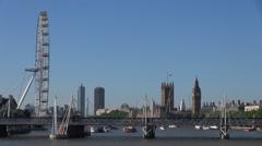Timelapse Hungerford Bridge London Eye Ferris Wheel Tower Clock Big Ben Palace Stock Footage
