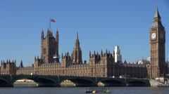 Timelapse Palace Westminster Houses Parliament, Thames River Tower Clock London  Stock Footage