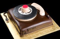 cake on isolated black background - stock photo