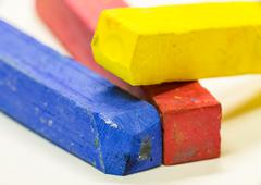 macro shot of colored pastels - stock photo