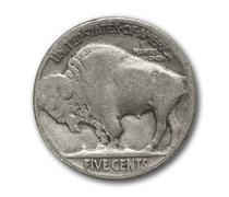 buffalo nickel coin isolated on white - stock photo