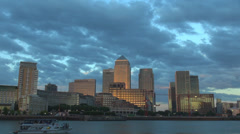 Panoramic Canary Wharf business district modern skyline cityscape London UK day Stock Footage