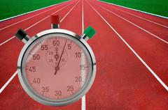 Running tracks and stop watch Stock Illustration