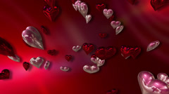 Shiny Silver and Pink Love Hearts on a 3D Abstract Red Background - stock footage