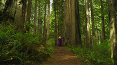 Blonde Princess Standing by Massive Tree Trunk Stock Footage
