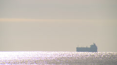 Freighter on open sea Stock Footage