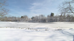 Stock Video Footage of frozen pond
