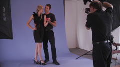 Male & Female Model Pose for Camera Stock Footage