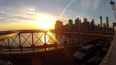 NYC SKYLINE BROOKLYN BRIDGE CARS LATE AFTERNOON Stock Footage