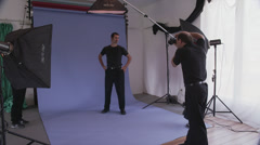 Male Model Poses for Camera Stock Footage
