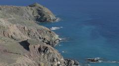 Coastline shoreline Mediterranean Greece aerial waves sea Stock Footage