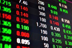 Stock market data on computer screen Stock Photos