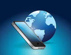 phone and earth globe illustration - stock illustration