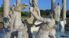 Man & Horse Statue at Trevi Fountain Replica Stock Footage