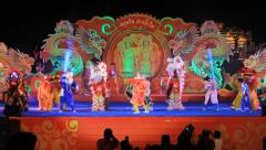 Lion show for  Chinese New Year celebrations Stock Footage