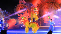 Lion dance show for  Chinese New Year celebrations Stock Footage