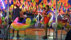 Temporary amusement for festivals in Thailand. - stock footage
